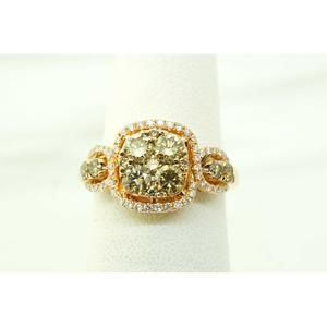 Jewelry - 14K Rose Gold White and Green Diamonds Deco Ring